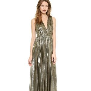 ALICE AND OLIVIA  ISA PLEATED GOLD MAXI DRESS